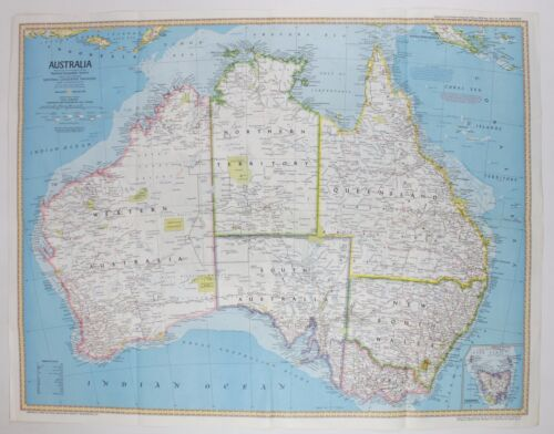 National Geographic Australia Land of Fossils Vintage Original Double Sided Map
