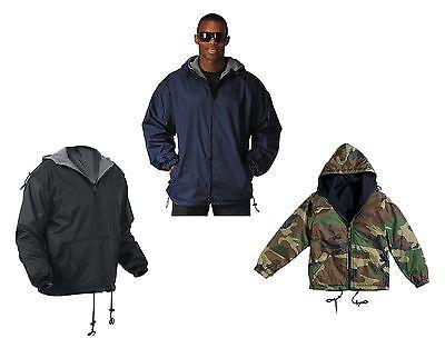 Fleece Lined Reversible Nylon Jacket W/ Hood - Black, Navy Blue, Wood Camo S-4XL