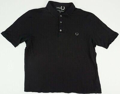 Raf Simons x Fred Perry Men's Large Brown Black Knit Mesh Metal Logo Polo Shirt