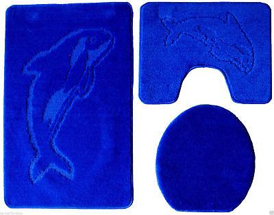 3-Teillig Badgarnitur Badteppich Badezimmergarnitur Set Vorleger 85 x55cm Blue m