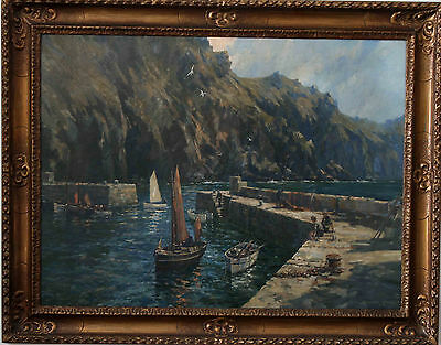 GORDON CROSBY MULLION COVE CORNWALL BRITISH OIL PAINTING ART NEWLYN Exh. 1921