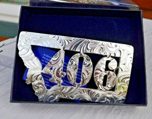 NIB Montana Silversmiths Buckle Silver~406 State of Montana Daily Deal! LAST ONE