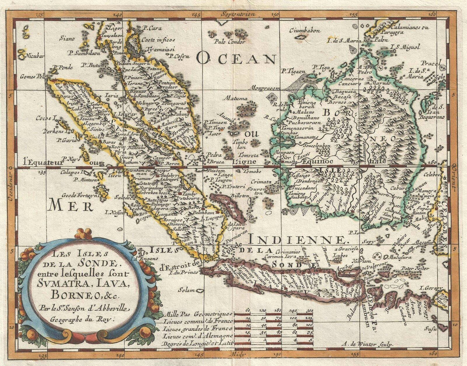 1657 Sanson Map of the East Indies Sumatra Java Borneo