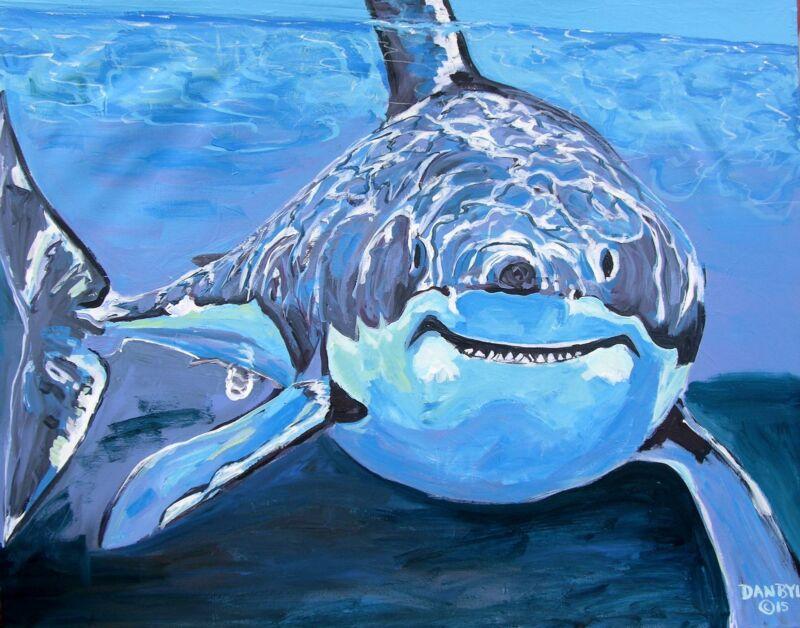 Shark Original Fine Art Painting Dan Byl Modern Contemporary Canvas Large 4x5 Ft