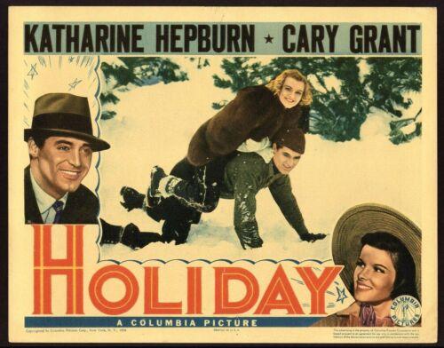 """HOLIDAY"" ORIGINAL LOBBY CARD CARY GRANT KATHERINE HEPBURN D NOLAN FN/VF 1938"