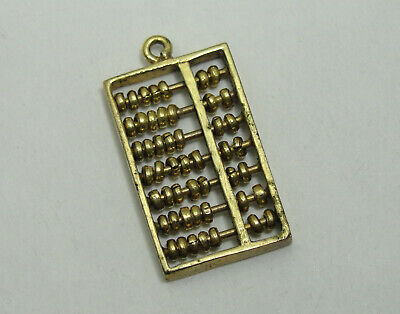 14K Gold Abacus Charm, Math Charm, 14KT, Pendant, #C516