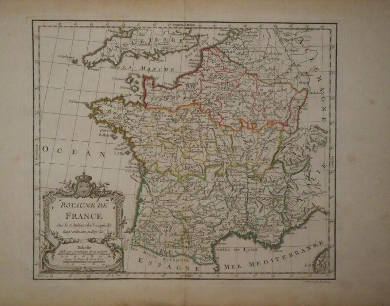 c1780 Genuine Antique hand colored map France, nice cartouche. De Vaugondy