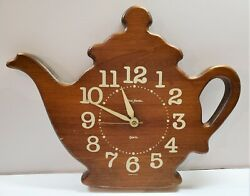 Vintage Wooden Coffee Pot Wall Clock Battery Operated Kitchen Decor
