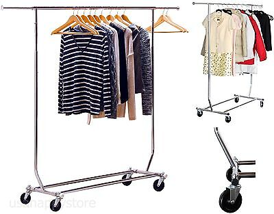 Commercial Rolling Garment Rack Heavy Duty Chrome Hanging Clothes Extensible Rod