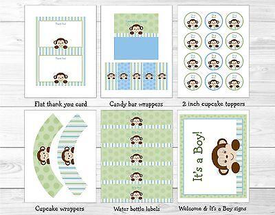 Baby Boy Monkey Blue Jungle Safari Printable Baby Shower Party - Blue Safari Baby Shower Decorations
