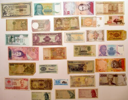 Mixed Lot of 30 Circulated Banknotes Various Denominations World Paper Money