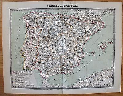 Portugal, Spanien, Balearen - Karte von 1868 *TOP* -  Lithographie