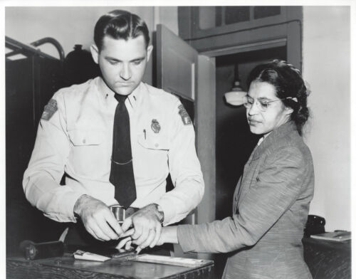 Historical 8x10 b/w photo of Rosa Parks getting finger printed