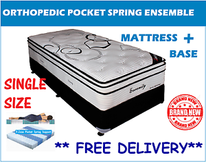 SINGLE Size Bed Ensemble - Orthopedic Mattress + Base - BRAND NEW New Farm Brisbane North East Preview