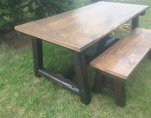 Rustic hand built tables and furniture.