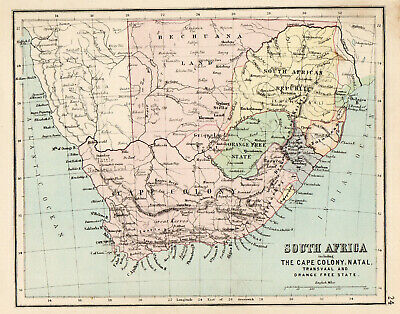 Antique Map Of South Africa Cape Colony Natal 1888