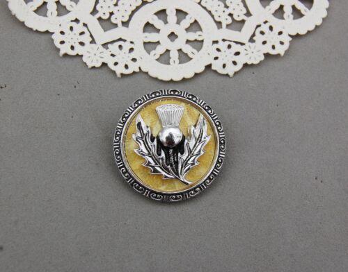 Scarf Clip Thistle Flower Scotland Symbol Made Western Germany Vintage Silver