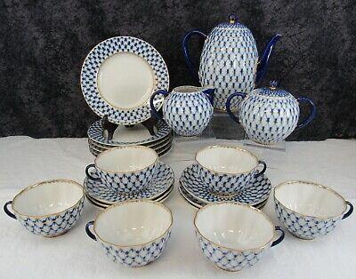 (23) Pc. Lomonosov Cobalt Net Russian Flow Blue Porcelain Coffee Set w/Gold Gilt Lomonosov Blue Net