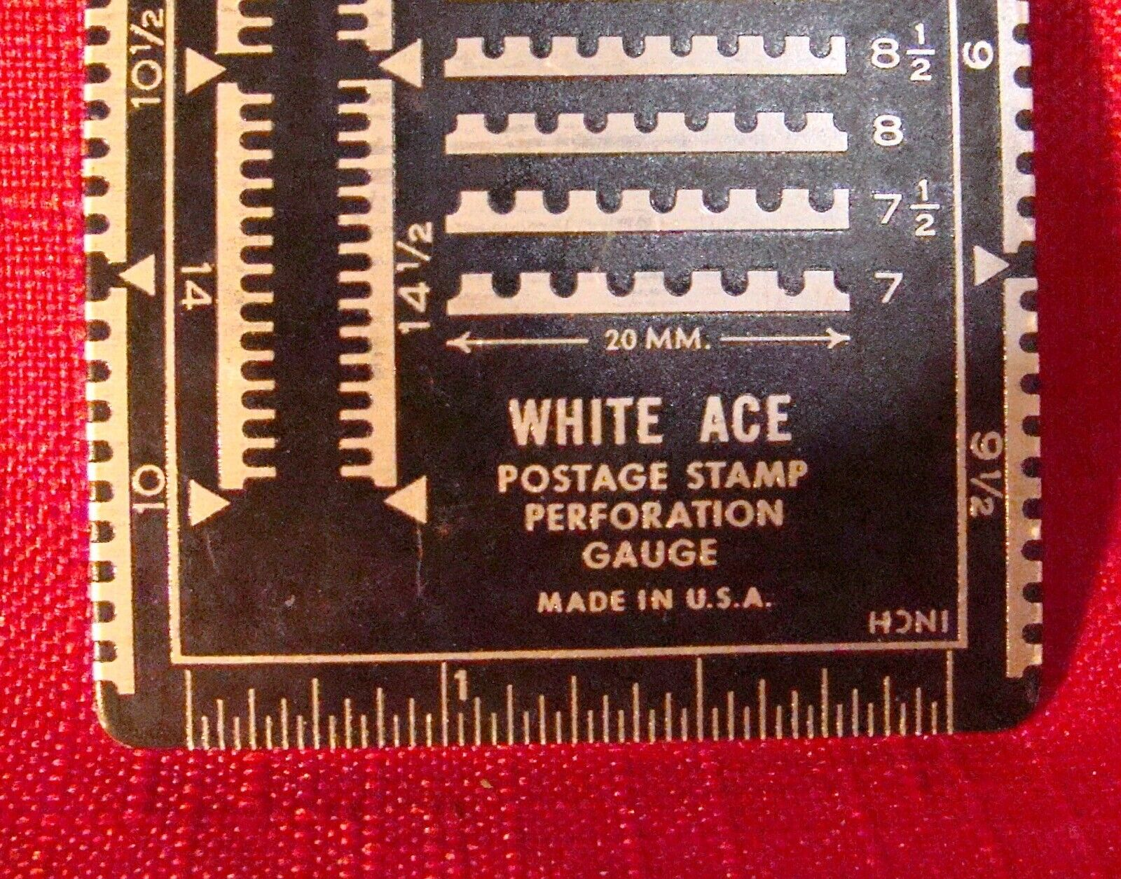 PHILATELIST POSTAGE STAMP PERFORATION TIN GAUGE BY WHITE ACE