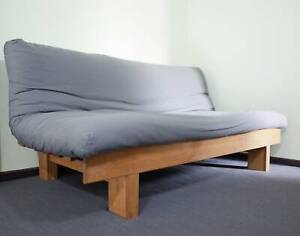 Futon Double Sofa Bed with mattress and fold flat wooden frame