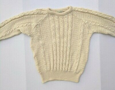Carraig Donn Wool Sweater Size 40 Medium Ivory Pure New Wool Ireland