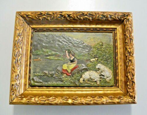 ANTIQUE CAST IRON PAINTING Vintage Art