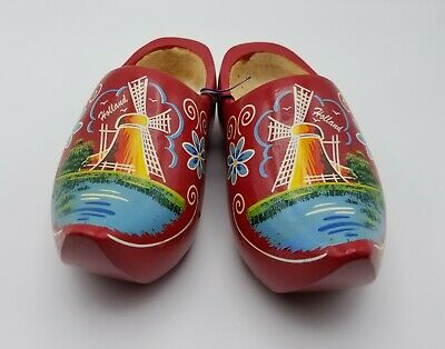 Vintage Holland Wooden Carved Shoes. Hand Painted Size 24 Holland Wooden Shoe