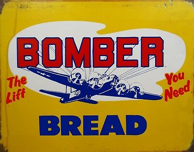 (Bomber Bread Aviation Vintage Airplane Advertisement Food Metal Sign)
