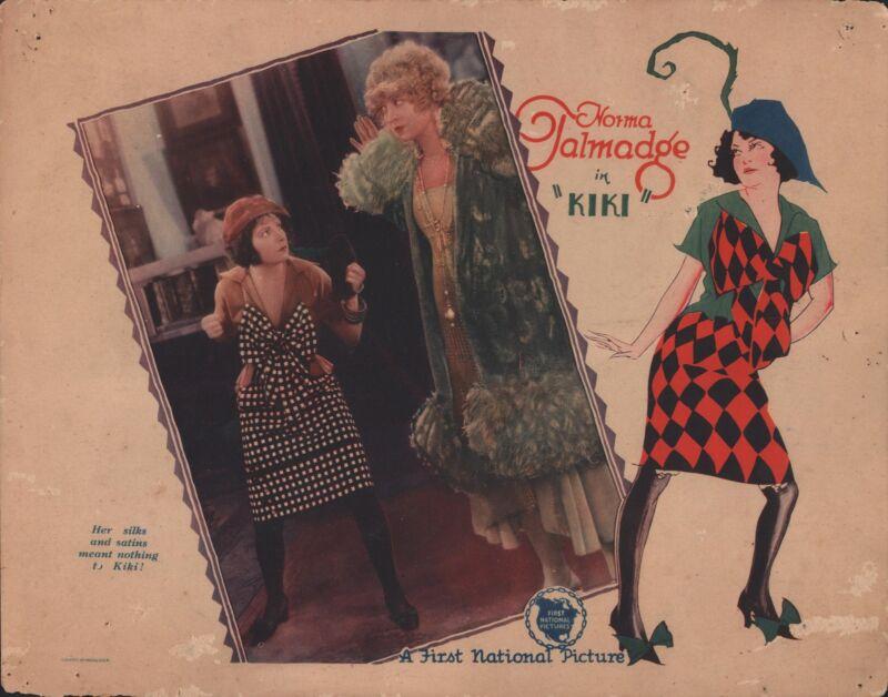 "NORMA TALMADGE & MARY PICKFORD in ""Kiki"" - Original COLOR LOBBY CARD - 1931"