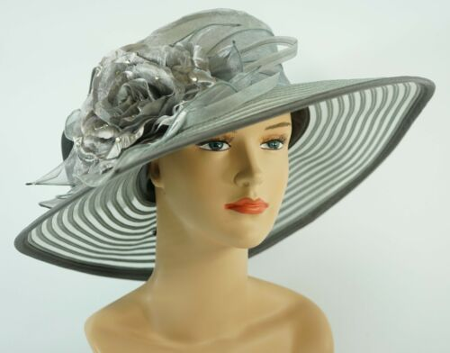 New Church Kentucky Derby Wedding Organza Wide Brim Dress Hat 286 Gray