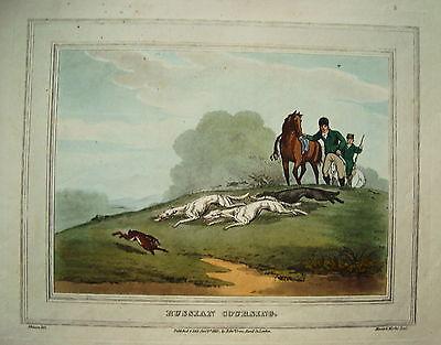 Hasenjagd Pferdejagd Hund seltener altkolorierter Kupferstich in  Aquatinta 1813