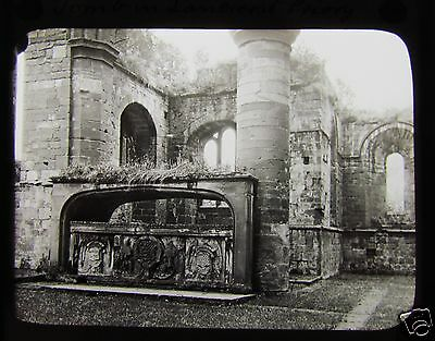 Glass Magic Lantern Slide STONE TOMB LANERCOST PRIORY C1900 ENGLAND CUMBRIA