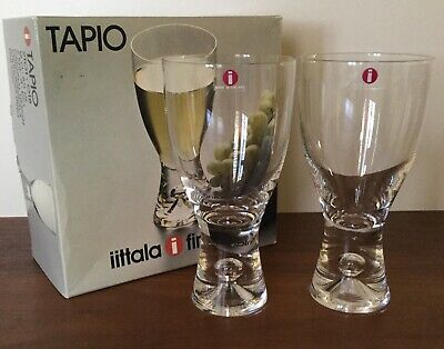 IITTALA // Set Of Two Crystal  White Wine Glasses // Tapio // Vintage // Finland