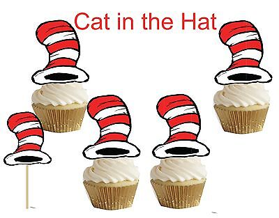 Cat in the Hat(Dr. Seus) cakepop/cupcake toppers