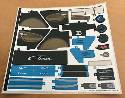 Lego INCOMPLETE Sticker Sheet from Bugatti Chiron 42083 - Missing 5 stickers