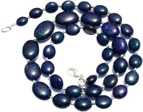 "Natural Australian Black Matrix Fire Opal Oval Shape Nugget Beads Necklace 19.5"""