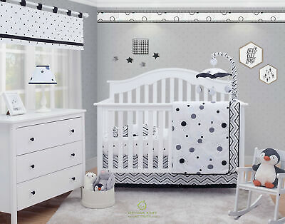6-Piece Pattern Black White Baby BoyGirl Nursery Crib Bedding Sets By OptimaBaby