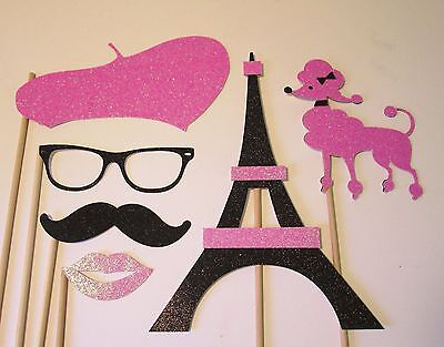 Pink and Black Paris Party Photo Booth Props made w/100% Glitter - Paris Photo Booth Props