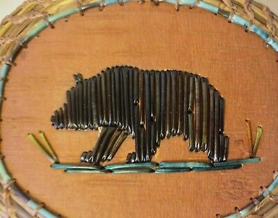 BROWN BEAR- Quillwork- Birchbark /coiled sweetgrass basket:  Paul St.John-Mohawk for sale  Shipping to Canada