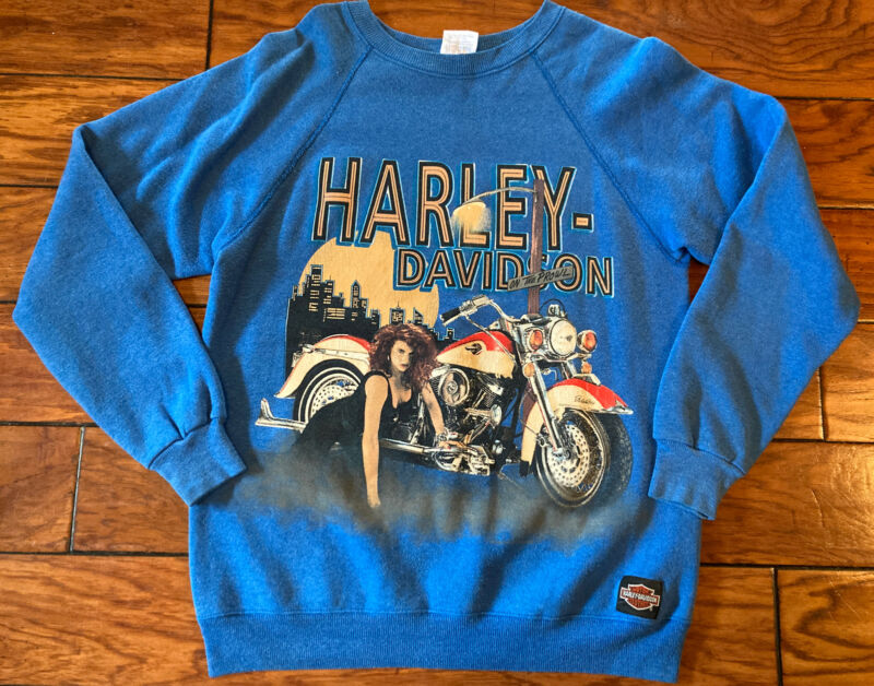Vintage 1991 Harley Davidson Sweatshirt On The Prowl Biker Babe Alligator L FL