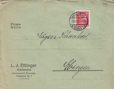 KARLSRUHE, Briefumschlag 1928, L. J. Ettlinger