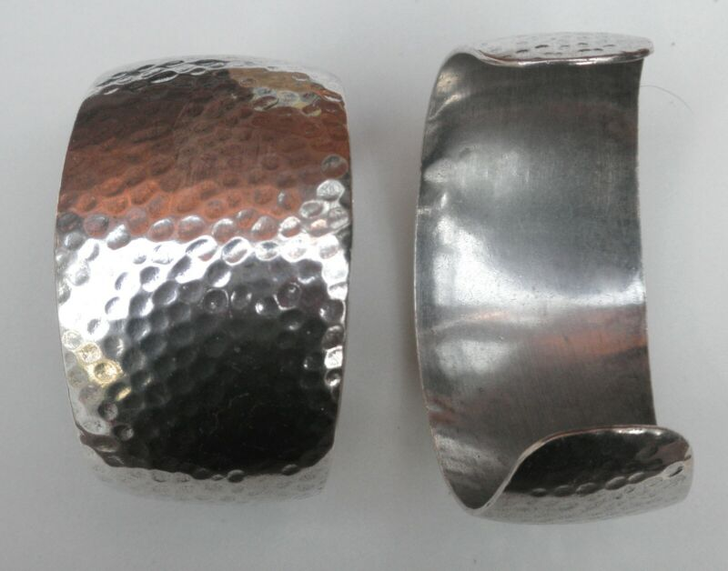 #4230 ANTIQUED STERLING SILVER PLATED HAMMERED CUFF BRACELET