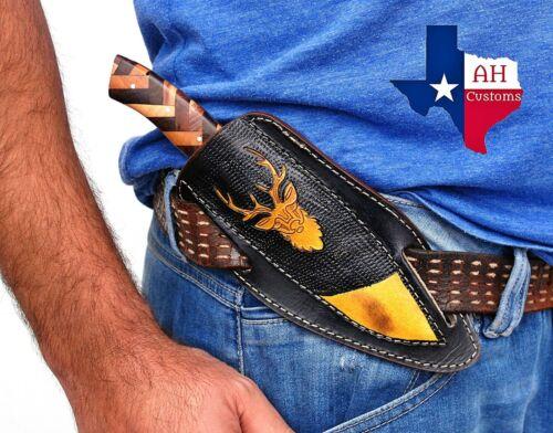 CUSTOM MADE PURE LEATHER HAND ENGRAVED HORIZONTAL SHEATH FOR FIXED BLADE KNIFE0