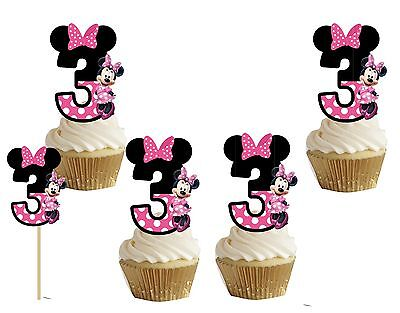 Minnie mouse number 3 cakepop/cupcake toppers 24