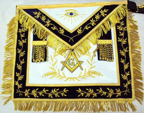 HAND EMBROIDED MASONIC LODGE MASTER MASON APRON MMB-09G