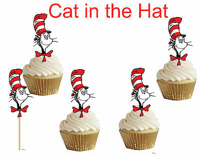 Cat in the Hat Dr. Seuss Cupcake toppers,cakepop toppers,cupcake decors(24pcs) (Dr Seuss Cupcake Toppers)