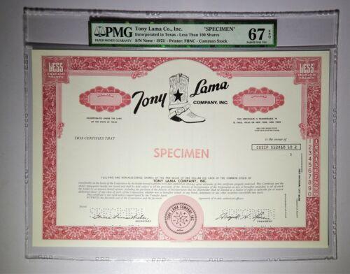 1972 Tony Lama Co. Common Stock Specimen PMG Superb Gem Unc 67 EPQ