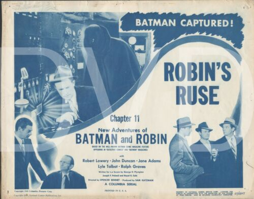 1949 New Adventures of Batman & Robin Theater Title Lobby Card 11x14 Chapter 11
