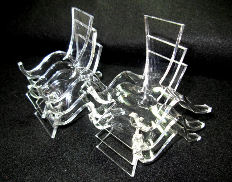 Set of 6 Medium, Clear Acrylic Plastic Display Stands for Fossils