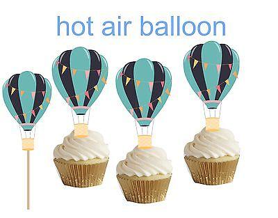 Blue Hot Air Balloon cakepop/cupcake topper 24pcs Blue Hot Air Balloon